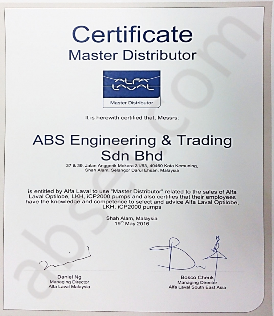 ABS _Master Distributor for Alfa Laval South East Asia